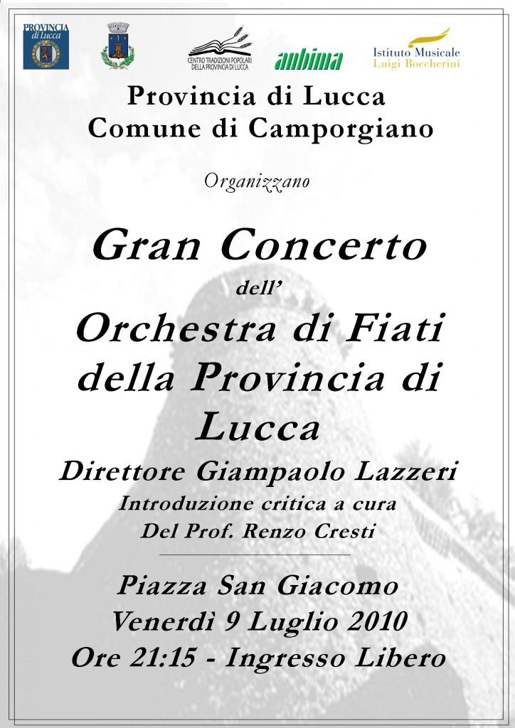 Locandina concerto Camporgiano 9/7/2010